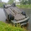 В Красноярске в результате ДТП перевернулся автомобиль