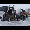 Под Канском рейсовый автобус столкнулся с поездом