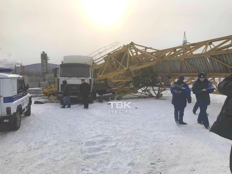 Направобережье Красноярска впромзоне упал кран
