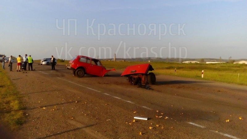 ВДТП под Красноярском «Ниву» разорвало надве части, пострадал ребенок