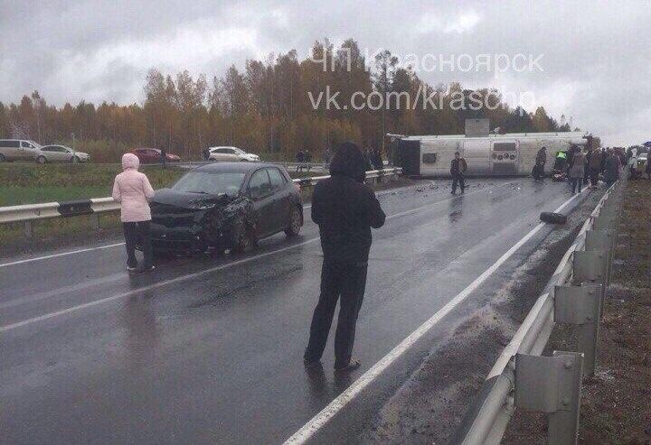 ВКрасноярском крае перевернулся пассажирский автобус